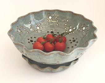 Berry Bowl & Saucer/Plate•Glossy Blue/bronze, Stoneware Fruit Bowl, Colander, wheelthrown•Artisan•UK studio pottery•OOAK•19cm x 7.5cm approx