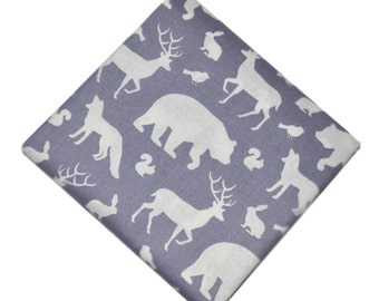 Woodland Fabric, Gray Bear Moose Deer Fabric, Fabric by the yard, Fat Quarter, Quilting Fabric, Apparel Fabric, 100% Cotton Fabric, B-4