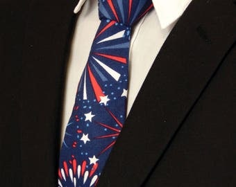 4th of July Necktie, 4th of July Tie, Mens Necktie, Mens Tie, Independence Day, Red, White, Blue, Fathers Day, Birthday, Gift, Fireworks