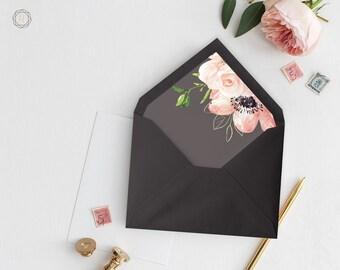 Envelope Liners, Printable Liner, Plum Envelope Liner, Floral Envelope Liner, Envelope Liner, A7 Envelope Liner, Instant Download, #PRG