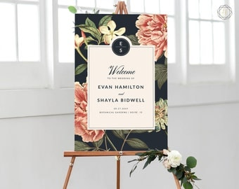 Wedding Welcome Sign, Welcome Wedding Sign, Welcome Sign, Welcome to Wedding, Printable Welcome Sign, Floral Welcome Sign, printable #VCS