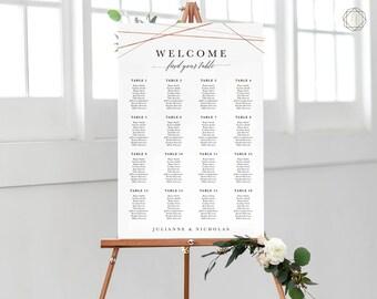 Wedding Seating Chart, Seating Chart Wedding, Wedding Table Plan, Seating Charts, Wedding Sign, Rose Gold Seating Chart, #GIS