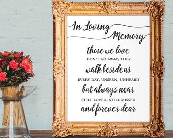 Wedding memorial sign - in loving memory - those we love don't go away they walk beside us everyday - 8x10, 5x7 Printable