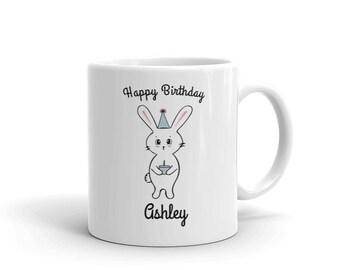 Happy Birthday Costume Bunny Mug | Birthday Gift for Her | Birthday Cake Bunny Mug | Funny Birthday Gift for Friend | Coffee Mug Cup