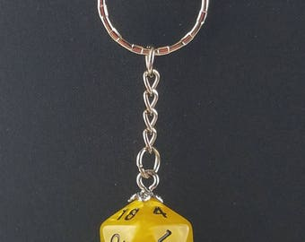 D20 Dice Dungeons & Dragons RPG Fantasy Yellow Swirl Keychain