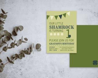 Irish Birthday Party Invite / Kid Birthday Invitation / St. Patrick's Day Birthday Invite / One Years Old / Lucky / Green / Printed Version