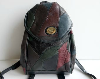 Vintage Leather Backpack, Leather Rucksack, Small Backpack