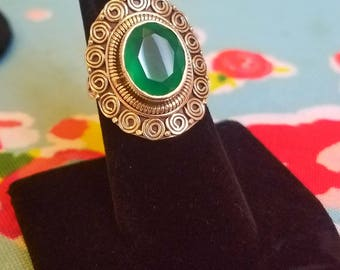 Silver green diopside ring