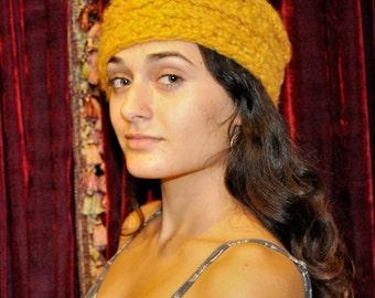 Wool Blend Sweater Hat Gold