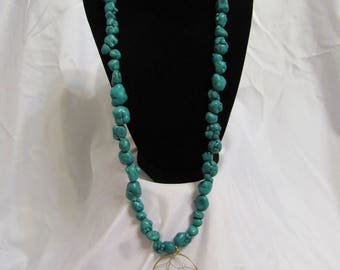 Turquoise Beaded Dream Catcher Necklace