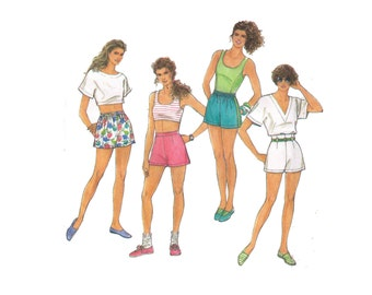 Simplicity 7294, 90s sewing pattern, size 8-10 women's shorts pattern, side slits shorts, high waisted shorts