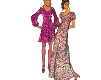 Simplicity 9446, 70s sewing pattern, size 14 bust 36 women's dress pattern, maxi dress, short sleeve ankle length dress
