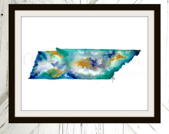 Tennessee Print | Agate Watercolor Art | Watercolor Print