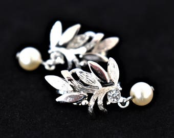 Vintage Avon Faux Pearl Leaf Dangle Earrings Clip On Silver Tone Signed Delicate Retro Wedding Bridal Costume Jewelry 1""
