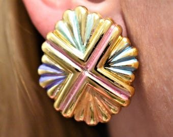 Vintage 80s Geometric Pastel Glam Statement Earrings Mod Retro Costume Jewelry 1.25""