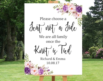 Purple Boho Choose a Seat Not a Side Printable Sign Personalised Lilac Floral Seating Wedding Sign Boho Wedding Ceremony Sign Download 121-W