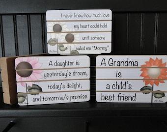 Family Sign Block, Slat Board Block, Shelf Sitter, Daughter Sign Block, Mommy Sign Block, Grandma Sign Block, Wedding Gift, Anniversary Gift