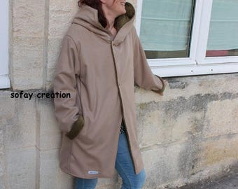 beige hooded coat