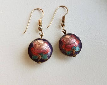 Round Floral Cloisonne Earrings