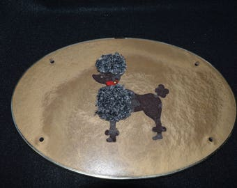 1950s Poodle Hat Box Cover, Vintage Poodle Decoration, Poodle Wall Decor, Repurposed from Hat Box, Oval Kitschy Retro 50s Wall Decor, Poodle