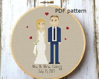 Wedding cross stitch pattern Cotton anniversary  Wedding gift Anniversary gift Cross stitch portrait Custom family portrait
