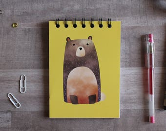 NOTEPAD. A6 Cute Bear Spiral Notepad. Soft 300 gsm Card Cover. 120 blank pages. Matte lamination pleasant to the touch.