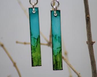 Aqua Blue and Green Rectangle Hand Painted Earrings