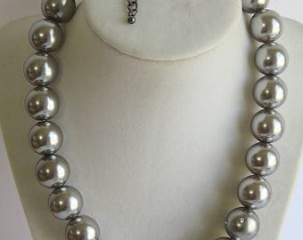 Gray large rhinestone  faux pearl necklace, Bridal necklace, wedding necklace, Bridesmaid necklace, Pearl necklace