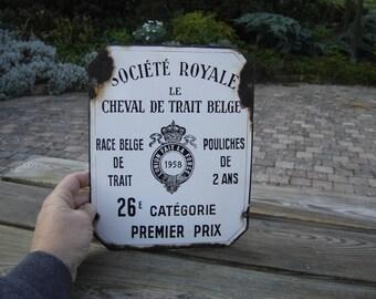 Plaque émaillée agricole société royale. Vintage. Equitation. Belgique