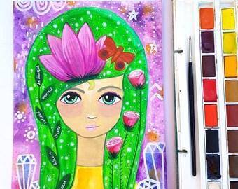 Goddess art - Green goddess painting - spiritual art - goddess print - nature wall art - nature art - Witch
