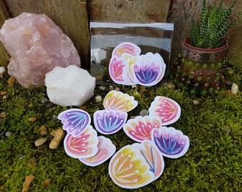 Illustrated flower stickers - Floral stickers - Journal stickers. Bujo stickers -  Diary  - Bohemian - journalling - stitched stickers