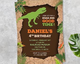 Dinosaur Birthday Party, Birthday Party Printable Invitation Card, Prehistoric Birthday Invitation, Dinosaur Party invitation, Dino