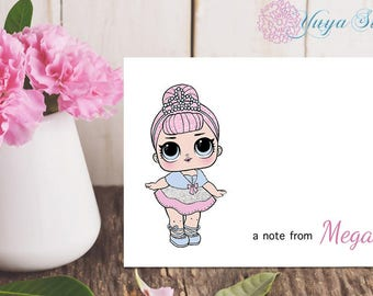 LOL Surprise Crystal Queen Notes / Girl Stationery /LOL Girl Stationery Set / Set of 12