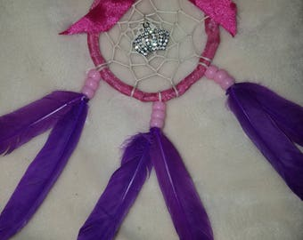 Handmade Pink and Purple Princess Crown Dream Catcher with Bow *SALE*