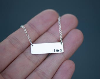 Half Triathlon Distance Bar Necklace Handmade from Sterling Silver