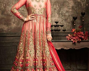 Red Colour Heavy and  Long Anarkali Suit comes