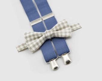 bowtie and suspenders, chekered beige bow tie & denim suspenders, toddler, child and adult sizes