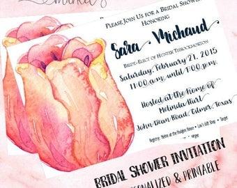 Bridal Shower Invitation - Watercolor Rose - Wedding Shower Invitation - Custom Invitation - Printable Invitation