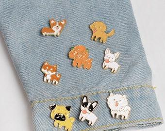 Enamel pin, Brooch, Funny Brooch, Dog pin, Set of pins