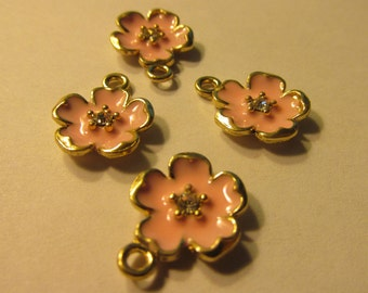 "Japanese Pink ""Sakura"" Cherry Blossom Charms, 15mm, Set of 4"