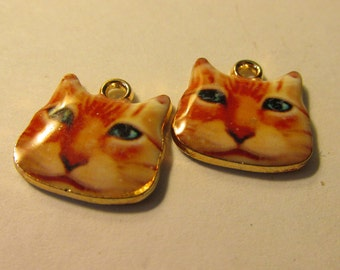 Orange Tabby Cat Charms, 12mm, Set of 2