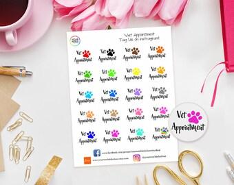 Vet Appointment Planner Stickers for Erin Condren Life Planner, Kikki K, Happy Planner, Kate Spade, Filofax, Personal, TN, Cats, Dogs, Vets