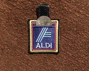 Aldi Key Fob with Quarter holder - Embroidered Aldi Key Fob with Quarter holder