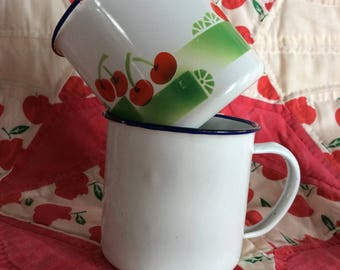 Vintage enamel mugs cherry pattern and white Lucky Elephant China
