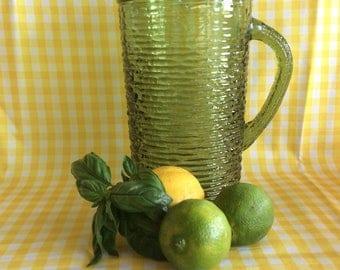 Vintage Anchor Hocking glass Soreno pattern limonade ice tea pitcher jug Retro look ice lip