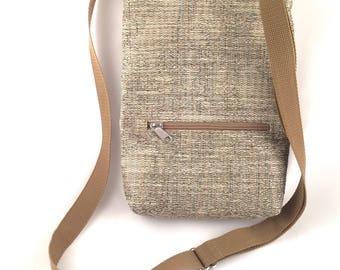 Small neutral travel bag // Zippered bag // Passport Bag // Lightweight crossbody // Vegan bag
