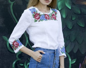 IN STOCK White linen embroidered blouse vyshyvanka. Ukrainian vyshyvanka shirt, traditional clothing