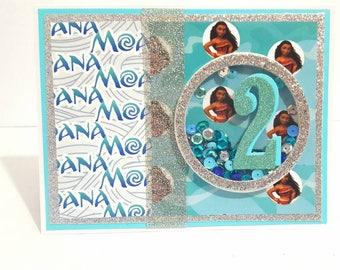 Moana Birthday Card, Handmade Greeting Card, Shaker Card, Disney Moana, Birthday Card for Her, Custom Card