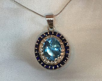 Superbowl Pendant with Blue Topaz, Sapphire and White Topaz