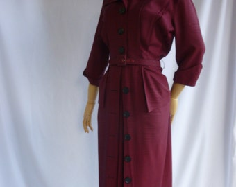 Early 50's Dark Navy Blue and Dark Red Mini-Checkered Woven Rayon Day Dress